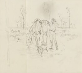Sketch of a man, horse and dog [?] drinking, by Percy Frederick Seaton Spence - NPG D23134(8a)
