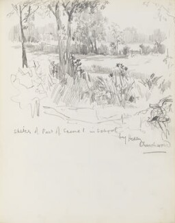 Sketch of part of scene 1 in School by Hedley Churchward, by Percy Frederick Seaton Spence - NPG D23134(20)