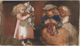 Three unknown children and a cat, by Louisa Anne Beresford - NPG D23146(18)