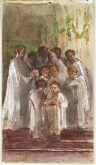 Choir singing on Christmas Day, by Louisa Anne Beresford, 25 December 1887 - NPG  - © National Portrait Gallery, London