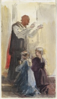 Priest blessing two unknown girls, by Louisa Anne Beresford - NPG D23146(36)