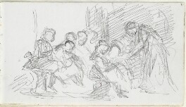 Sketch of an unknown woman and seven children, possibly in a classroom, by Louisa Anne Beresford - NPG D23146(37)