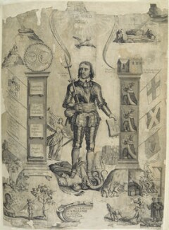 'Oliver Cromwell between Two Pillars', by William Faithorne, after  Francis Barlow - NPG D22716