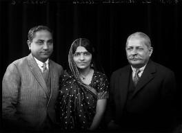 Jivraj Narayan Mehta; Mrs Hansa Mehta; Sir Manubhai Nandshankar Mehta, by Bassano Ltd - NPG x150708