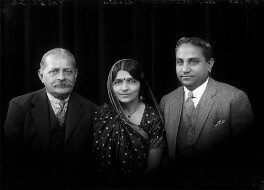 Sir Manubhai Nandshankar Mehta; Mrs Hansa Mehta; Jivraj Narayan Mehta, by Bassano Ltd - NPG x150709