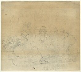 'Antwerp'; Sketch of a street scene with two unknown women, by George Estall - NPG D23161