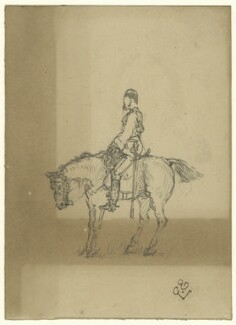 Unknown cavalryman on horseback, by George Estall, late 19th century - NPG  - © National Portrait Gallery, London
