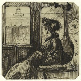 Study of an unknown woman in a train car, by George Estall, late 19th century - NPG  - © National Portrait Gallery, London