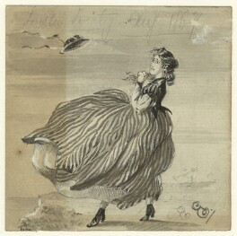 Sketch of an unknown woman blown by wind, by George Estall, August 1867 - NPG  - © National Portrait Gallery, London