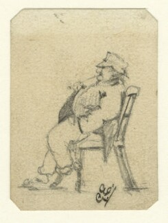 Caricatured sketch of an unknown man in a chair, by George Estall, late 19th century - NPG  - © National Portrait Gallery, London