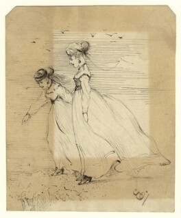 Sketch of two unknown women, by George Estall, late 19th century - NPG  - © National Portrait Gallery, London