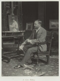 Luke Fildes, by Ralph Winwood Robinson, published by  C. Whittingham & Co - NPG x7363