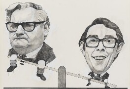 Ronnie Barker; Ronnie Corbett ('The Two Ronnies'), by Barry Fantoni, 1976 - NPG  - © National Portrait Gallery, London