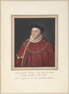 Sir Christopher Wray, attributed to Thomas Athow, after  Mather Brown, after  Unknown artist - NPG D23254