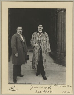 Sir Mancherjee Merwanjee Bhownaggree; Aga Khan III (Mohammed Shah), by Sir (John) Benjamin Stone, July 1902 - NPG x44818 - © National Portrait Gallery, London