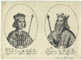 King William II ('Rufus'); King Henry I (fictitious portraits), probably by William Faithorne, published by  Sir Robert Peake - NPG D22800