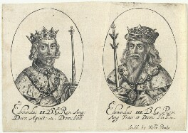 King Edward II; King Edward III (fictitious portraits), probably by William Faithorne, published by  Sir Robert Peake, circa 1640 - NPG D22804 - © National Portrait Gallery, London