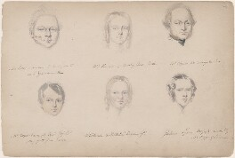 Miss Powell; Mr Vizer; Mr Boyce-Connaught; Miss Dickenson; Mrs Goskar-Lynn and an unknown man, attributed to William Egley - NPG D23313(4)