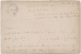 Sketch of an unknown man with notes on other sitters, attributed to William Egley - NPG D23313(20)