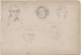 Mr Edward; Miss Roberts and three unknown sitters, attributed to William Egley - NPG D23313(32)