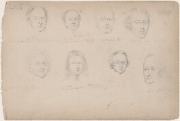 Mr Smith; Mr Collins; A. Webb; Mr Marsden; Mrs Cole Smith; Mr Cole (Bellington?) Smith and two unknown sitters, attributed to William Egley - NPG D23313(38)