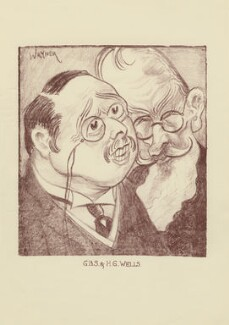 H.G. Wells; George Bernard Shaw, by Mark Wayner (Weiner) - NPG D23327