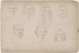 Miss A. Bell and six unknown sitters, attributed to William Egley - NPG D23313(40)