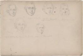 Mr Crane; Mr Landford; Mr Croton and three unknown sitters, attributed to William Egley - NPG D23313(50)