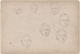 Captain Tucker and six unknown sitters including several siblings, attributed to William Egley - NPG D23313(52)