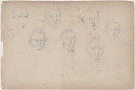 Watkins; Lieutenant Young and five unknown sitters, attributed to William Egley - NPG D23313(54)