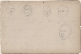 Five unknown sitters and sketchbook notes, attributed to William Egley - NPG D23313(60)