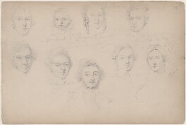 Miss Ward and eight unknown sitters, attributed to William Egley - NPG D23313(62)