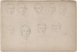 R. Vernon; Captain Vivian; Thomas Miller and six unknown sitters, attributed to William Egley - NPG D23313(74)