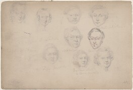 Mrs Lanford; Mr Wheeler; Piper Newgate; George Cherer and five unknown sitters, attributed to William Egley - NPG D23313(79)