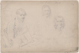 Mrs Eyre and two unknown sitters, attributed to William Egley - NPG D23313(63)