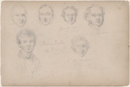 Captain Barley and five unknown sitters, attributed to William Egley - NPG D23313(59)