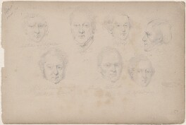 Possibly Lord Petres and six unknown sitters, including two marked 'Clifford', attributed to William Egley - NPG D23313(55)