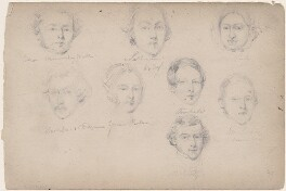 Sullivan; Mrs Barly; Mr George and five unknown sitters, attributed to William Egley - NPG D23313(25)