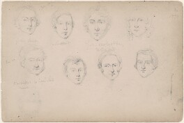 Miss or Mrs Gibbons; possibly Mr Gibb; J.M. Clifford and five unknown sitters, attributed to William Egley - NPG D23313(21)