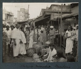 'Flower Market, Madras', possibly by Lady Ottoline Morrell - NPG Ax143696