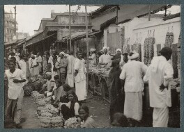 'Flower Market, Madras', possibly by Lady Ottoline Morrell - NPG Ax143698