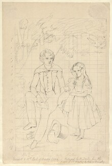 Edward Henry Stanley, 15th Earl of Derby and Lady Emma Charlotte Talbot (née Stanley) as children, by William Derby - NPG D23132