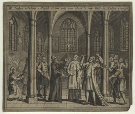 Dr Taylor rebuking a Popish Priest who was about to say Mass in Hadley Church (Thomas Taylor), by Unknown engraver - NPG D23440