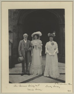 James Joicey, 1st Baron Joicey; Hon. Marguerite de Fontaine Drever Joicey; Marguerite Smyles (née Drever), Lady Joicey, by Sir (John) Benjamin Stone, 5 July 1905 - NPG x29018 - © National Portrait Gallery, London