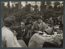 Gertrude Emerson Sen; Lionel Tilden; Boshi Sen; Dorothy Bussy (née Strachey); Simon Bussy and an unknown man, by Lady Ottoline Morrell - NPG Ax143948