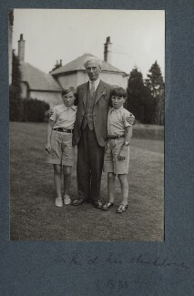 Bertrand Russell, 3rd Earl Russell with his children, by Lady Ottoline Morrell - NPG Ax143954