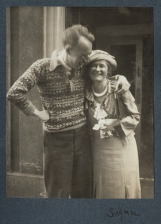 Frank O'Connor; Signe Hackett (née Toksvig), by Lady Ottoline Morrell - NPG Ax144070