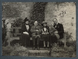 Lady Ottoline Morrell; Walter de la Mare; (Helen) Hope Mirrlees; Philip Edward Morrell, by Unknown photographer - NPG Ax144081