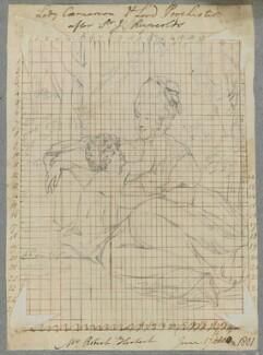 Elizabeth Herbert (née Wyndham), Countess of Carnarvon and her son, Henry George Herbert, 2nd Earl of Carnarvon, by Henry Bone, after  Sir Joshua Reynolds, 17 June 1801 (circa 1774) - NPG D17268 - © National Portrait Gallery, London