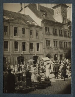 Catherine Colomb (Marie-Louise ('Marion') Reymond (née Colomb)) at Vevey market, by Lady Ottoline Morrell - NPG Ax144114
